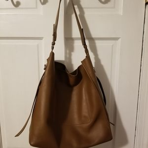 All Saints brown leather tote